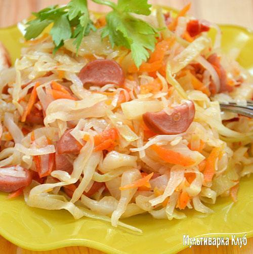 капуста с сосисками и картошкой рецепт в мультиварке